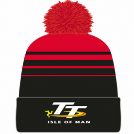 Isle of Man TT Bobble Hat Red Black